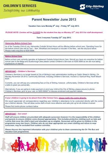 Parent Newsletter June 2013 - City of Stirling
