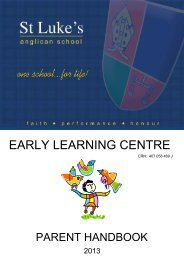 Early Learning Centre Parent Handbook - St Luke's Anglican School