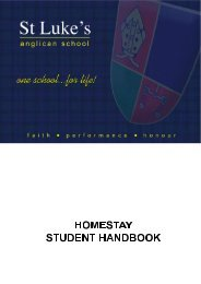 Homestay Handbook for Students - St Luke's Anglican School