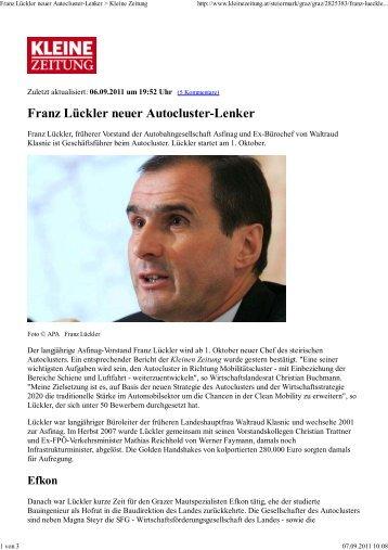 Franz Lückler neuer Autocluster-Lenker > Kleine ... - ACstyria.com