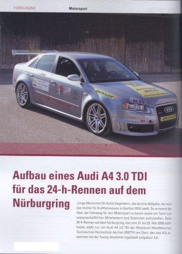 Aufbau eines Audi A4 3.0 TDI für das 24-h-Rennen auf dem
