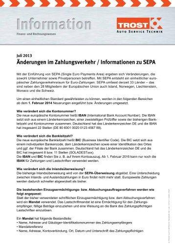 Änderungen im Zahlungsverkehr / Informationen zu SEPA - Trost