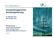 Intelligente Anreizregulierung - Bremer Energie Institut
