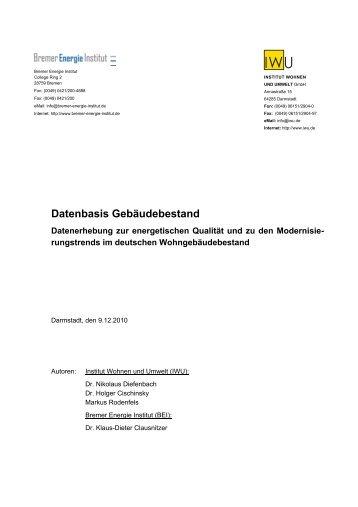 PDF (Bericht) - IWU Datenbasis - Institut Wohnen und Umwelt GmbH