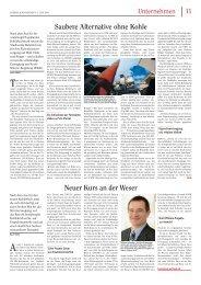Saubere Alternative ohne Kohle Neuer Kurs an der Weser