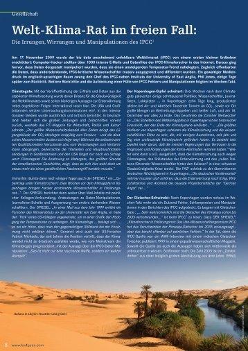 Die Irrungen, Wirrungen und Manipulationen des IPCC