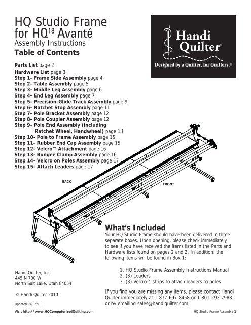 Hq Studio Frame For Hq 18 Avant 233 Handi Quilter