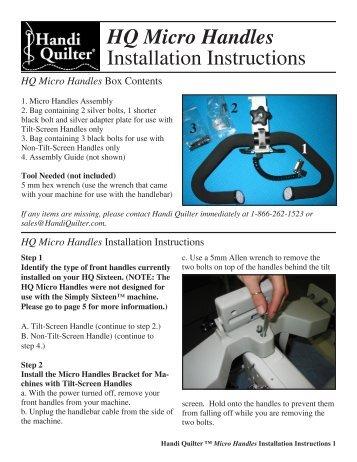 Hq Open Toe Hopping Foot Instructions Handi Quilter
