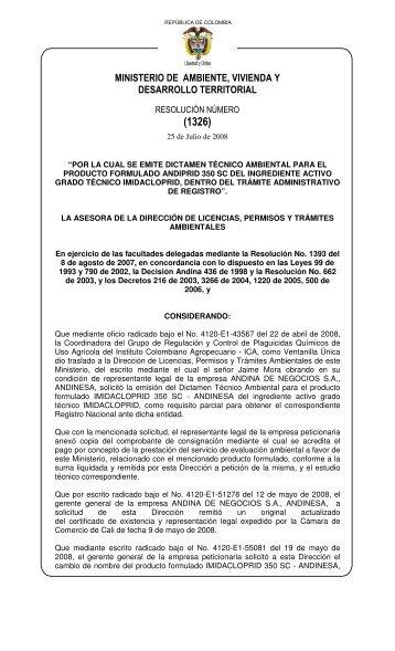 1326 25 julio 2008 - Ministerio de Ambiente, Vivienda y Desarrollo ...