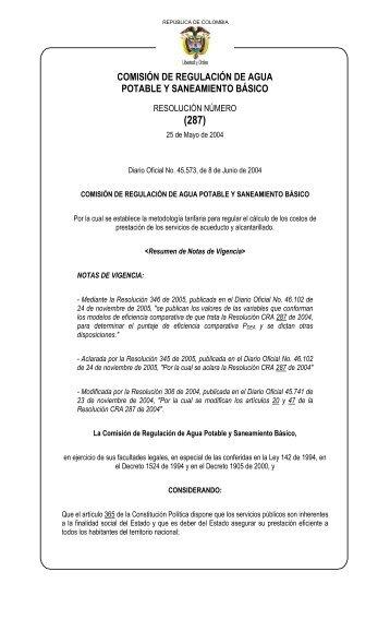 Resolución CRA 287 de 2004 - Ministerio de Ambiente, Vivienda y ...
