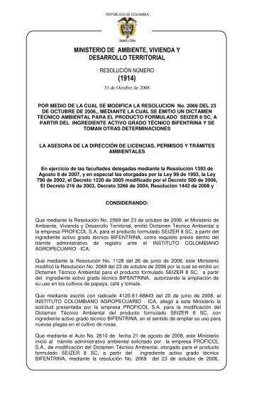 1914 del 31 de octubre de 2008 - Ministerio de Ambiente, Vivienda ...