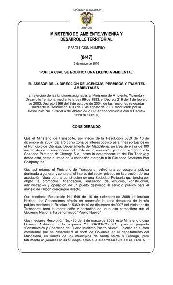 0447 - Ministerio de Ambiente, Vivienda y Desarrollo Territorial