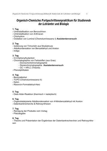 Organisch-Chemisches Fortgeschrittenenpraktikum für Studierende ...