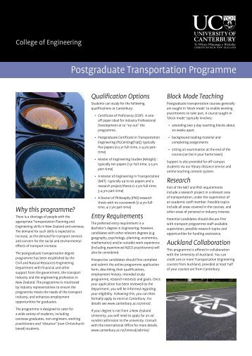 Postgraduate Transportation Programme - Civil and Natural ...