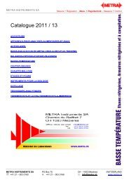 Basse température - METRA Instruments SA