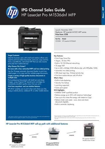 IPG Channel Sales Guide HP LaserJet Pro M1536dnf MFP - Pctop