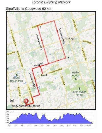 Stouffville to Goodwood 60 km Toronto Bicycling Network