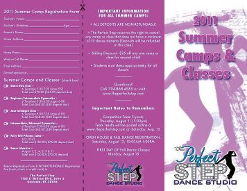 2011 Summer Camps & Classes - The Perfect Step
