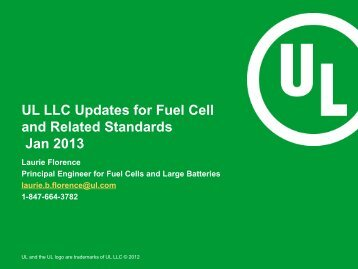UL LLC Updates for Fuel Cell and Related Categories, Jan 2013