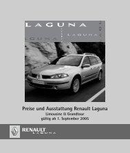 Preise und Ausstattung Renault Laguna Limousine ... - Motorline.cc