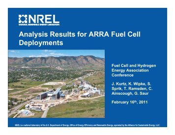 Analysis Results for ARRA Fuel Cell Deployments - National ...