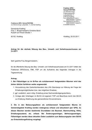 Baumschutz bei Bauvorhaben - FDP Krailling