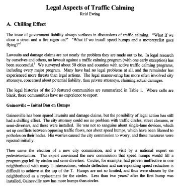 Legal Aspects of Traffic Calming