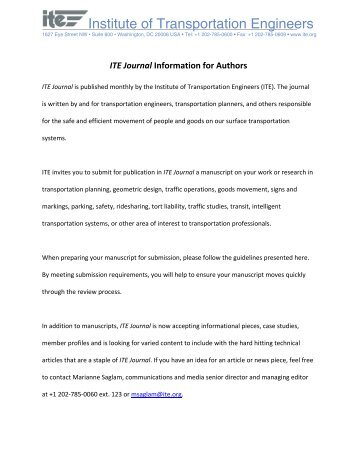 ITE Journal Information for Authors - Institute of Transportation ...