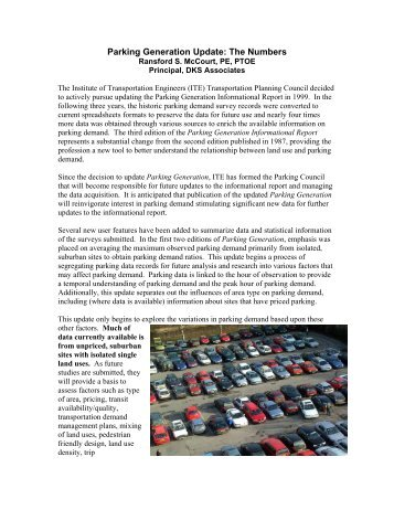 Parking Generation Update: The Numbers - Institute of ...