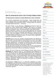 Bach an authentischen Orten in den Thüringer Städten erleben