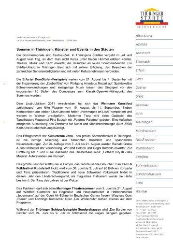 Sommer in Thüringen: Künstler und Events in den ... - Thüringer Städte
