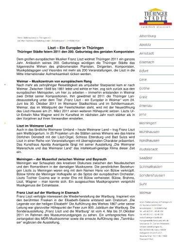Pressemitteilung: Liszt 2011 - Thüringer Städte