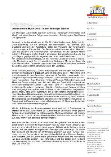 Luther und die Musik 2012 – in den Thüringer Städten