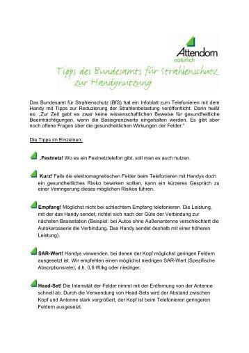 Tipps des Bundesamtes für Strahlenschutz zur ... - Attendorn