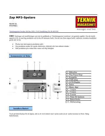 Zap MP3-Spelare - Manualer