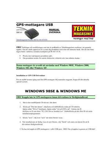 GPS-mottagare USB WINDOWS 98SE & WINDOWS ME - Manualer