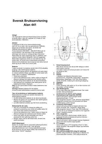 Svensk Bruksanvisning Alan 441