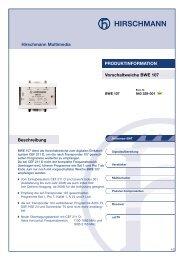 Vorschaltweiche BWE 107 Beschreibung Hirschmann ... - Triax