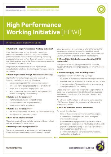 High Performance Working Initiative (HPWI) - Department of Labour