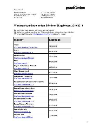 Wintersaison-Ende in den Bündner Skigebieten 2010 ... - Graubünden