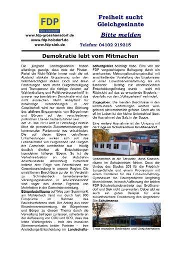Freiheit sucht Gleichgesinnte Bitte melden - FDP Großhansdorf