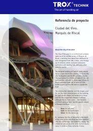 Referencia de proyecto Ciudad del Vino. Marqués de Riscal - Trox