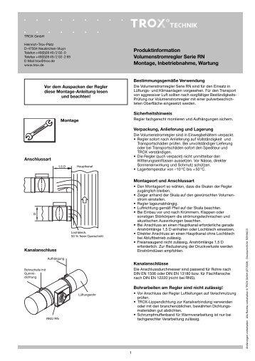 Produktinformation Volumenstromregler Serie RN Montage ...   Trox