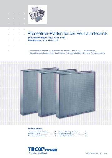 Plisseefilter-Platten für die Reinraumtechnik - Trox