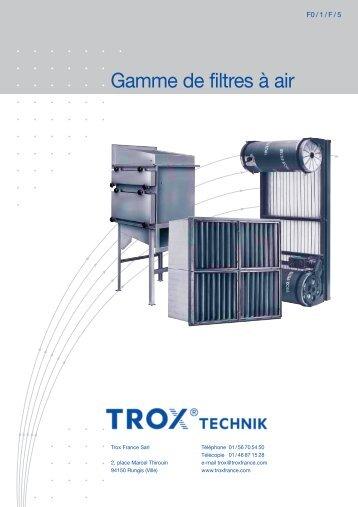 Brochure technique Gamme de filtres à air - Trox