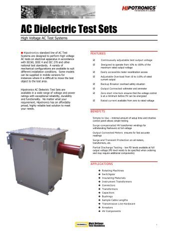 AC Dielectric Test Sets - TRS-RenTelco