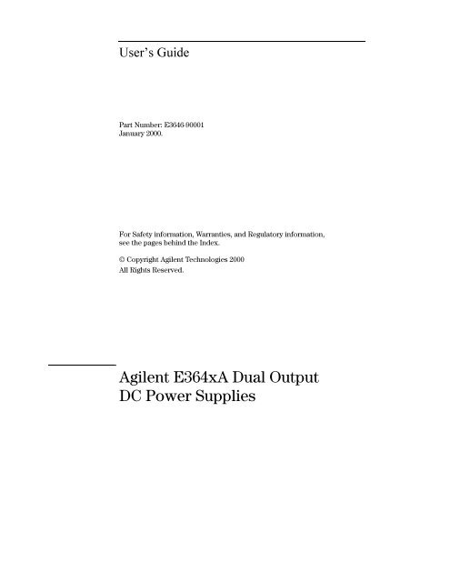 Agilent E3646A Service Manual (with schematics) - Gerry Sweeney