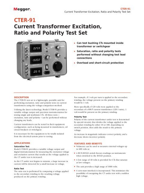 CTER-91 Current Transformer Excitation, Ratio and Polarity