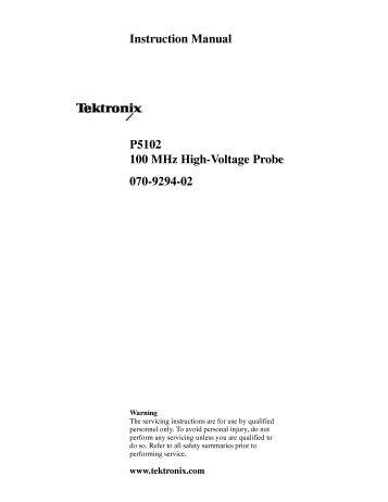 P5102 100 MHz High-Voltage Probe Instruction ... - TRS-RenTelco