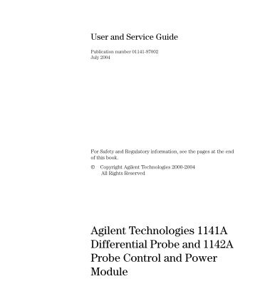 1141A Differential Probe and 1142A Probe Control ... - TRS-RenTelco